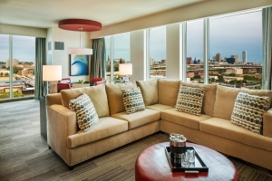 Suite – Potawatomi Hotel & Casino features 16 suites, outfitted with plush living and dining areas, a large master bedroom and bathroom and access to a connected standard bedroom.